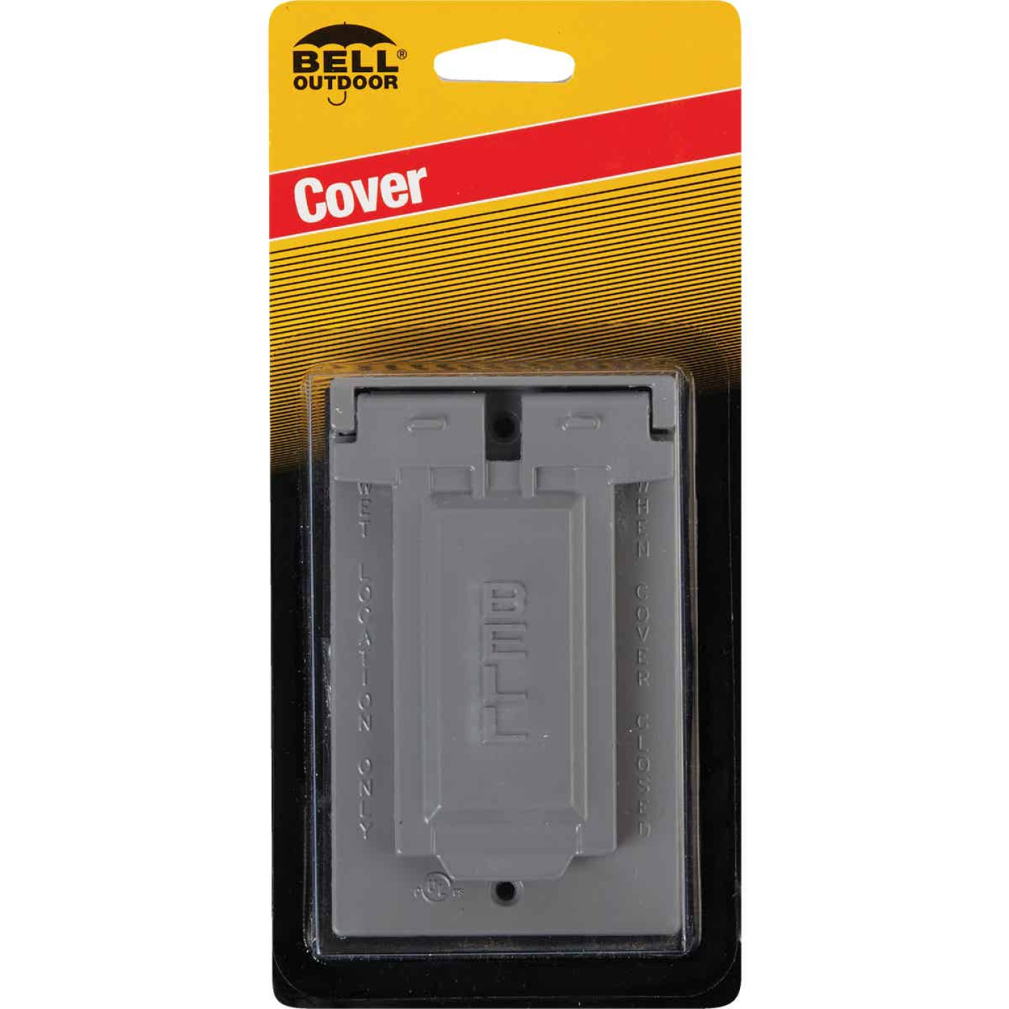 Bell Single Gang Vertical Mount Die-Cast Metal Gray Weatherproof GFCI Outdoor Outlet Cover Image 2