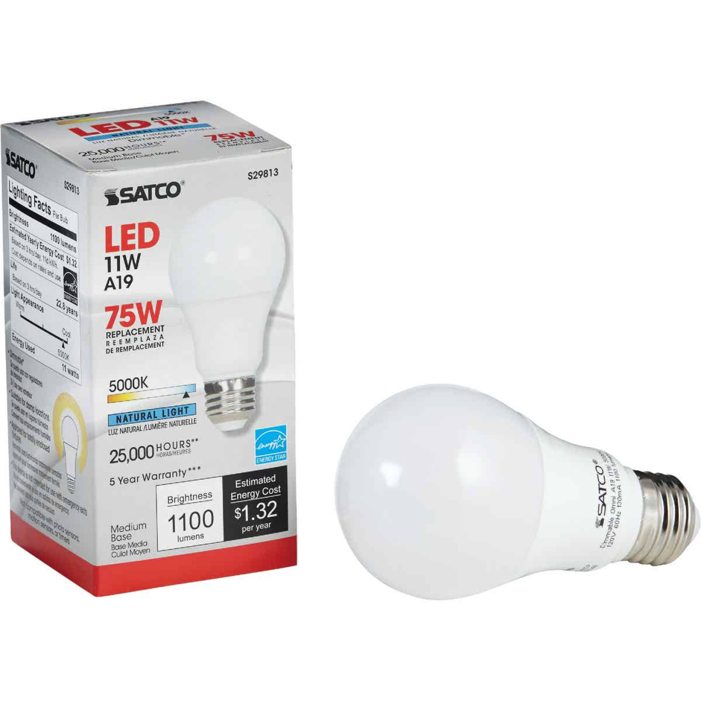 Satco 40W Equivalent Warm White A19 Medium Dimmable LED Light Bulb Image 1