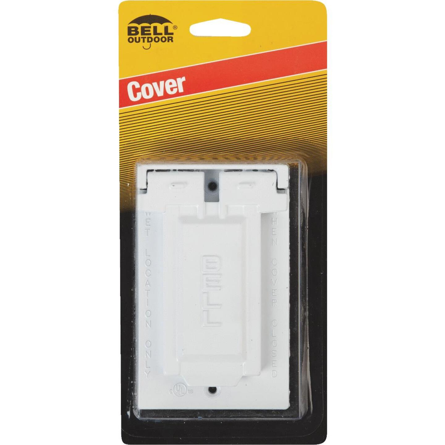 Bell Single Gang Vertical Mount Die-Cast Metal White Weatherproof GFCI Outdoor Outlet Cover Image 2