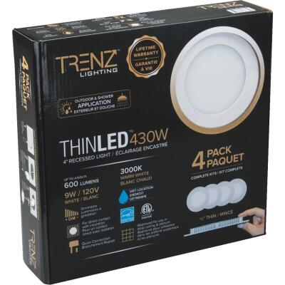 Liteline Trenz ThinLED 4 In. New Construction/Remodel IC Rated White 600 Lm. 3000K Recessed Light Kit (4-Pack)