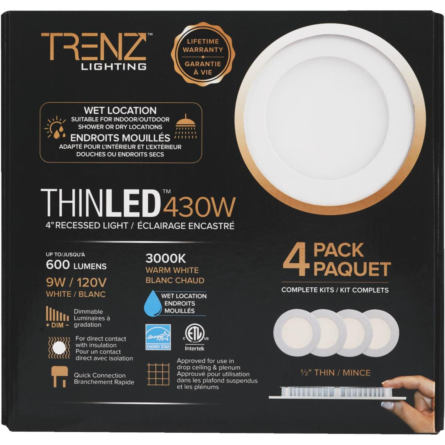 Liteline Trenz ThinLED 4 In. New Construction/Remodel IC Rated White 600 Lm. 3000K Recessed Light Kit (4-Pack) Image 2
