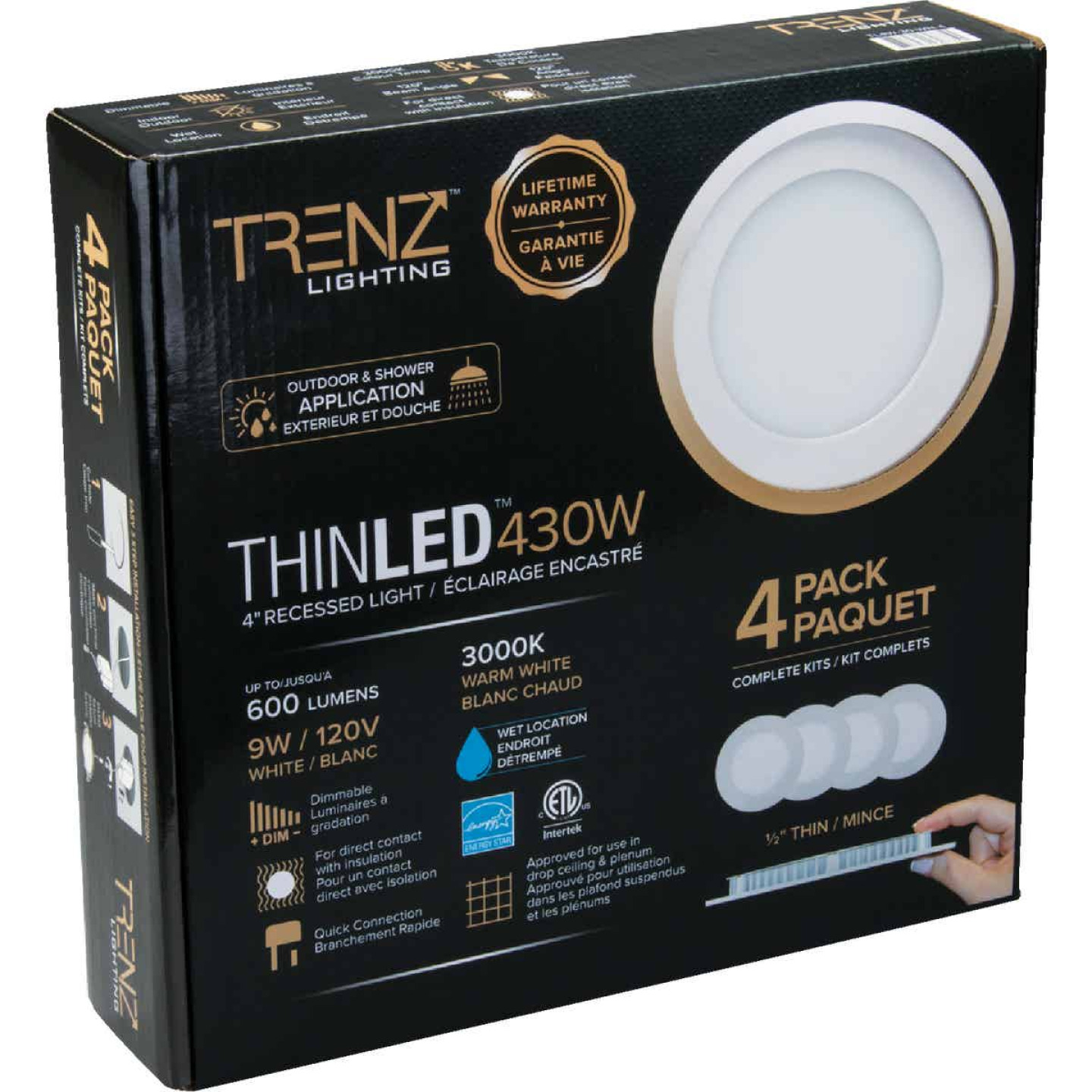 Liteline Trenz ThinLED 4 In. New Construction/Remodel IC Rated White 600 Lm. 3000K Recessed Light Kit (4-Pack) Image 1