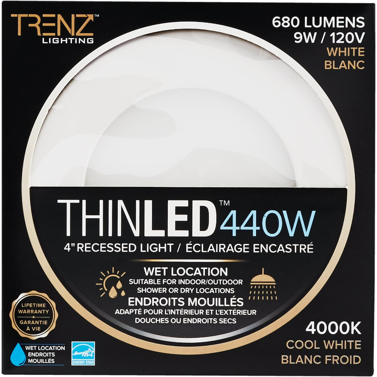 Liteline Trenz ThinLED 4 In. New Construction/Remodel IC Rated White 680 Lm. 4000K Recessed Light Kit Image 2