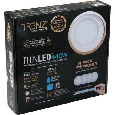 Liteline Trenz ThinLED 4 In. New Construction/Remodel IC Rated White 680 Lm. 4000K Recessed Light Kit (4-Pack)