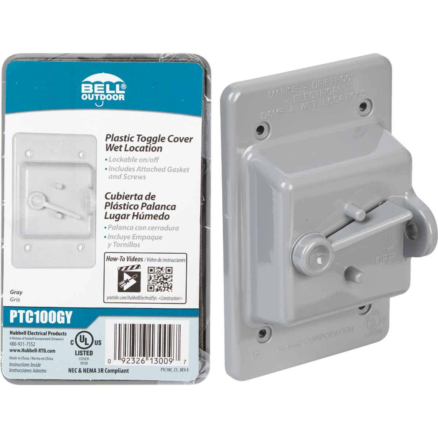 Bell Gray Single Gang Vertical Mount Weatherproof Polycarbonate Outdoor Switch Cover Image 1