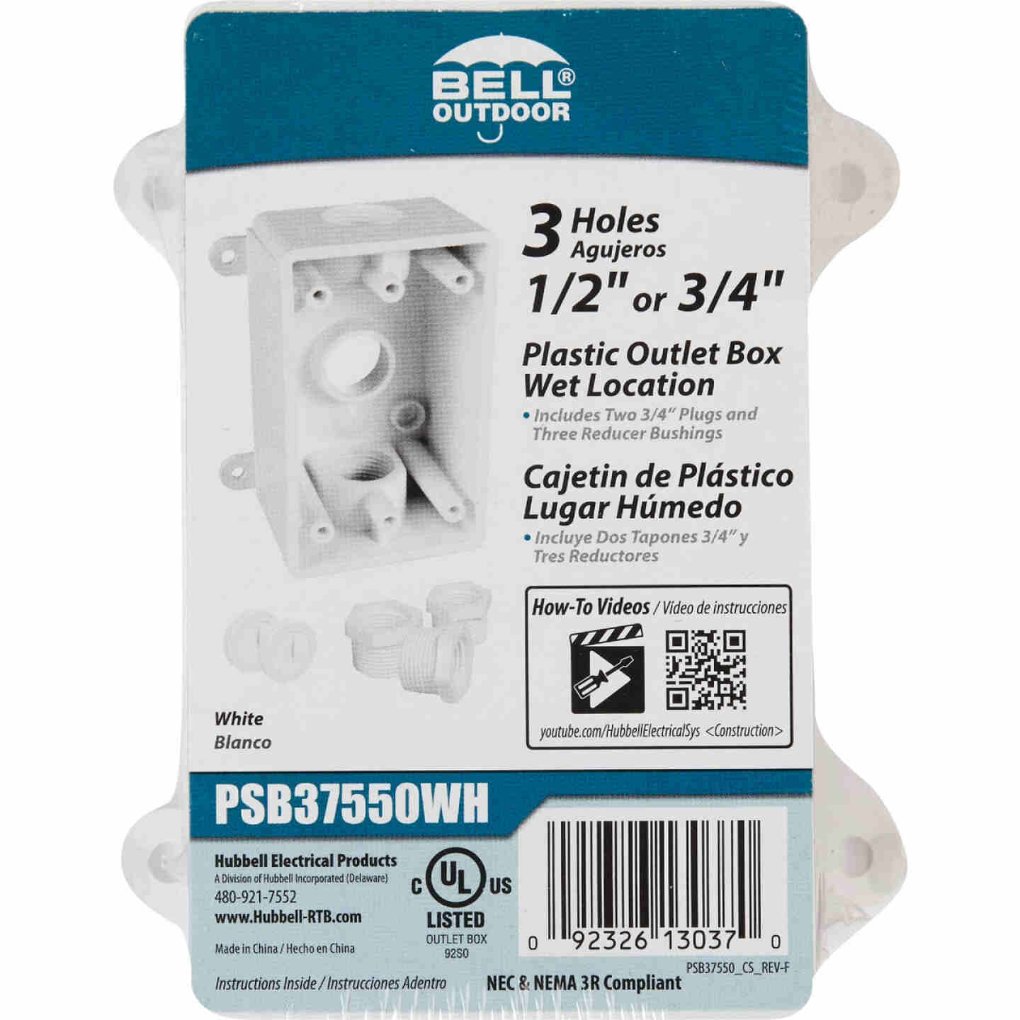 Bell Single Gang 1/2 In.,3/4 In. 3-Outlet White PVC Weatherproof Outdoor Outlet Box Image 2