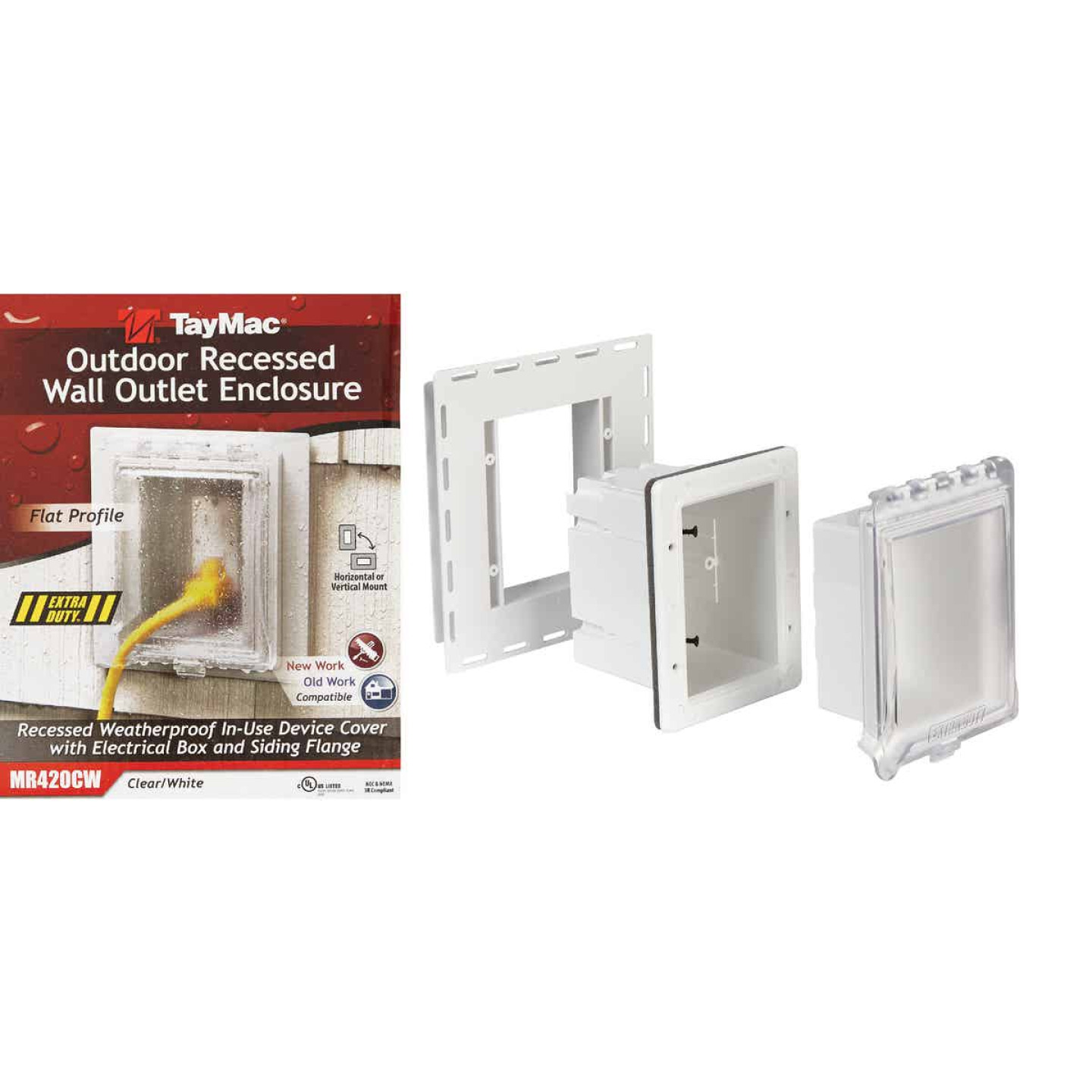 TayMac White Vertical/Horizontal Non-Metallic Recessed Outdoor Outlet Kit Image 1