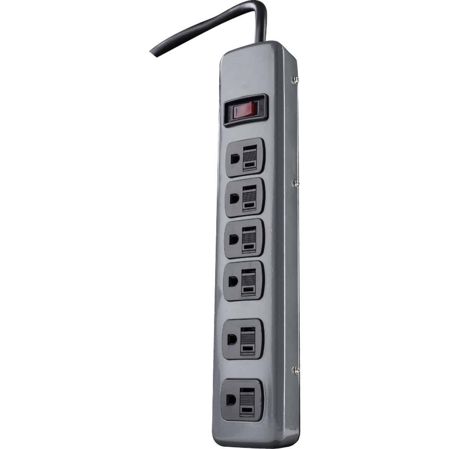 Woods 6-Outlet Gray Power Strip with 5 Ft. Cord Image 1