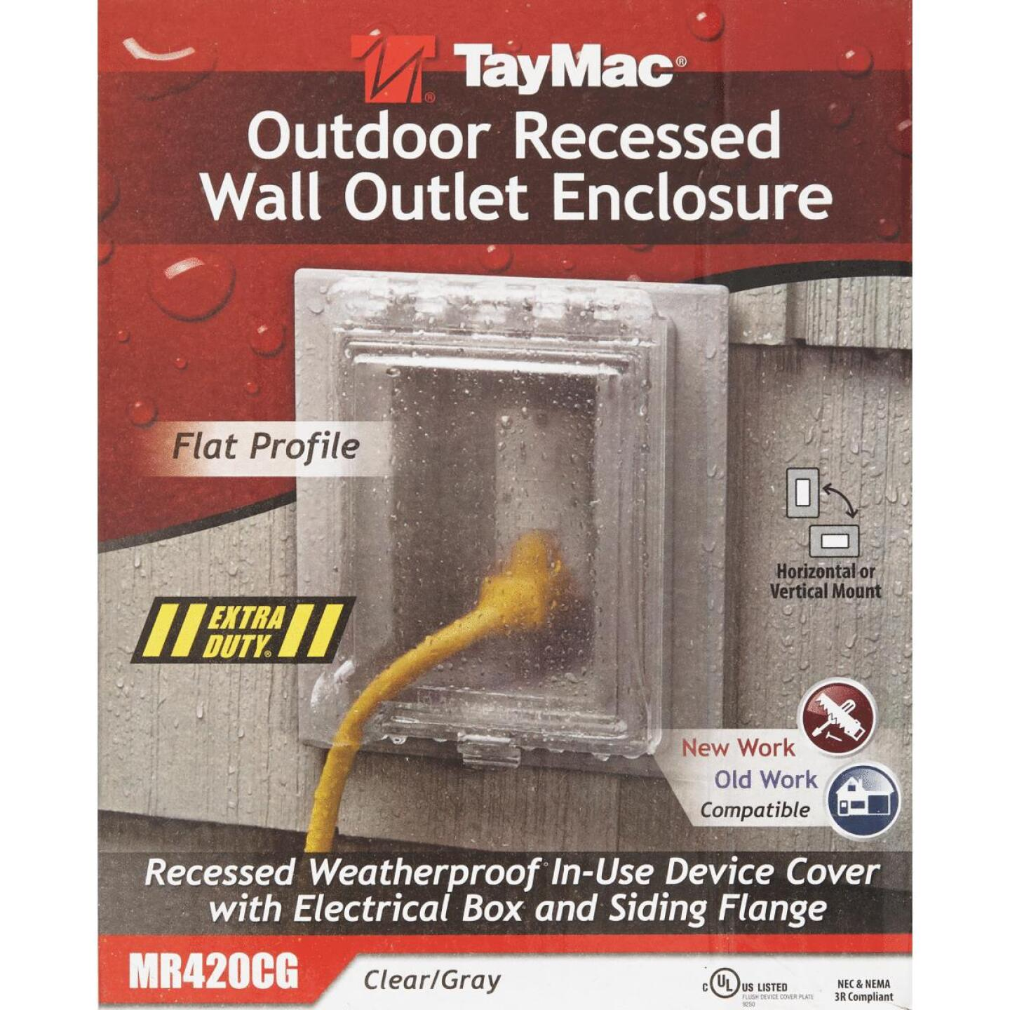 TayMac Gray Vertical/Horizontal Non-Metallic Recessed Outdoor Outlet Kit Image 2