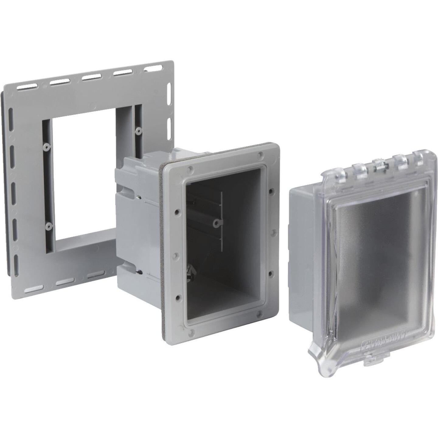 TayMac Gray Vertical/Horizontal Non-Metallic Recessed Outdoor Outlet Kit Image 3
