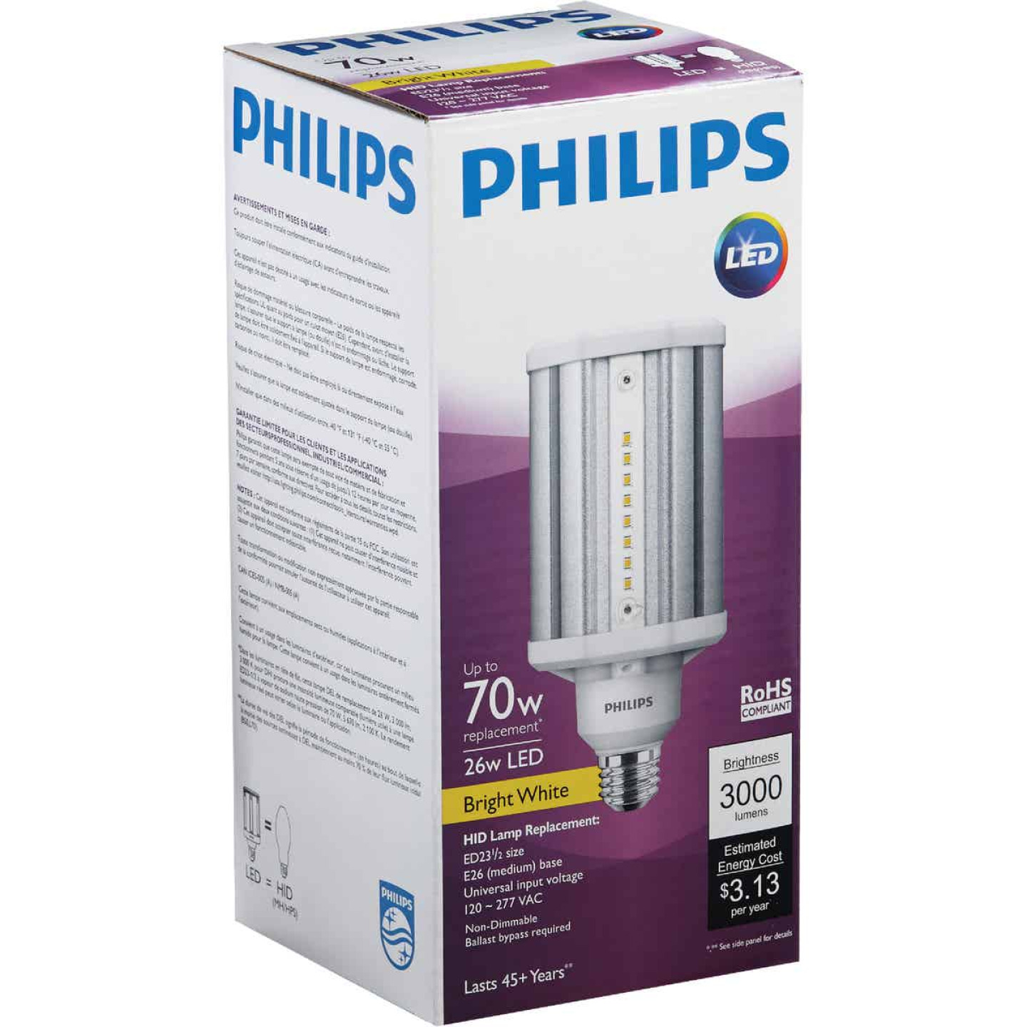 Philips TrueForce 26W Clear Corn Cob Medium Base LED High-Intensity Light Bulb Image 4