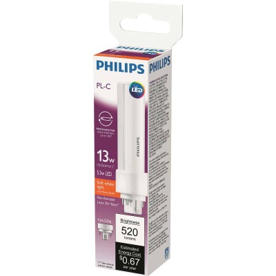 Philips 13W Equivalent Soft White PL-C 4-Pin Horizontal Orientation LED Tube Light Bulb
