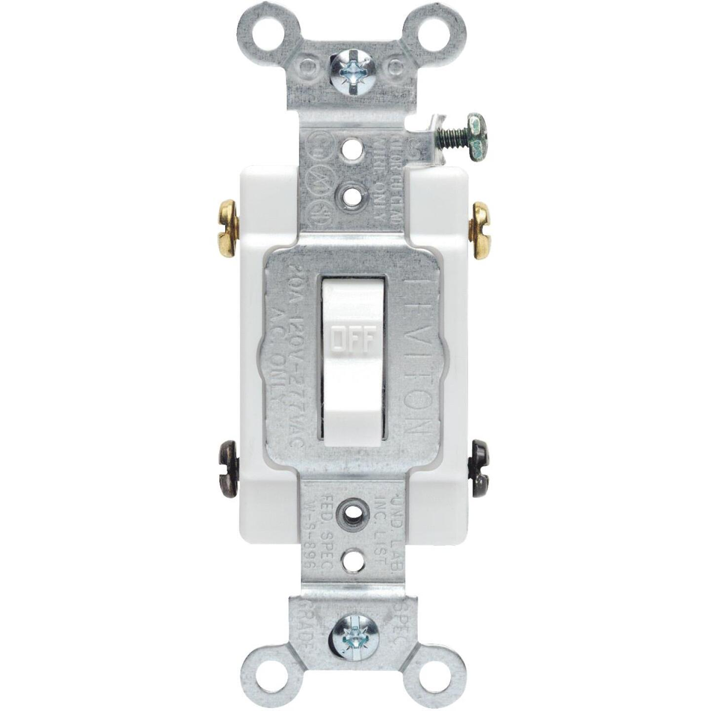 Leviton Toggle White 20A Grounded Quiet Double Pole Switch Image 1