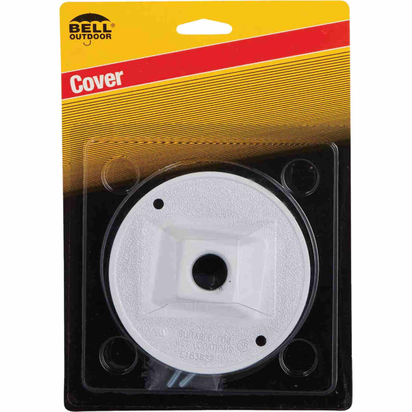 Hubbell 4 In. 1-Outlet 1/2 In. NPT White Zinc Weatherproof Electrical Cover Image 2