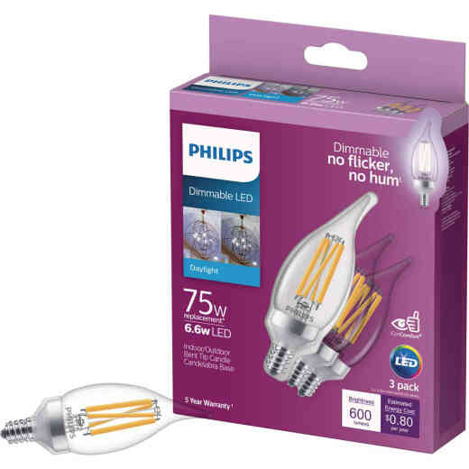 Philips 75W Equivalent Daylight BA11 Candelabra Dimmable LED Light Bulb (3-Pack)