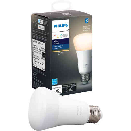 Philips Hue 60W Equivalent Warm White A19 Medium Dimmable LED Smart Light Bulb
