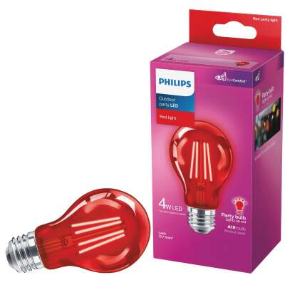Philips Red A19 Medium 4W Indoor/Outdoor LED Decorative Party Light Bulb