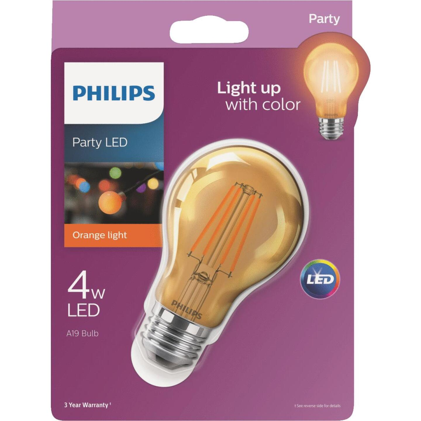 Philips Orange A19 Medium 4W Indoor/Outdoor LED Decorative Party Light Bulb Image 1