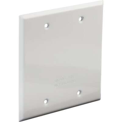 Bell 2-Gang Rectangular Aluminum White Blank Weatherproof Outdoor Box Cover