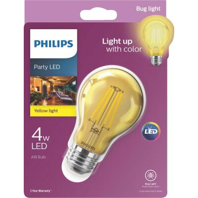 Philips Yellow A19 Medium 4W Indoor/Outdoor LED Decorative Party Light Bulb