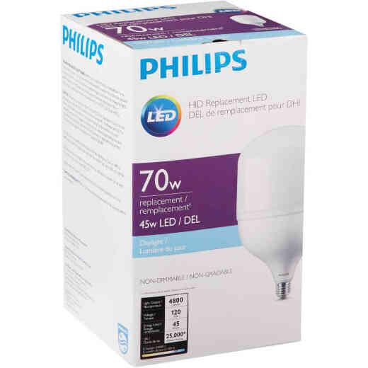 Philips 45W Frosted T-Shape Medium Base LED High-Intensity Replacement Light Bulb, 300W Incandescent Equivalent