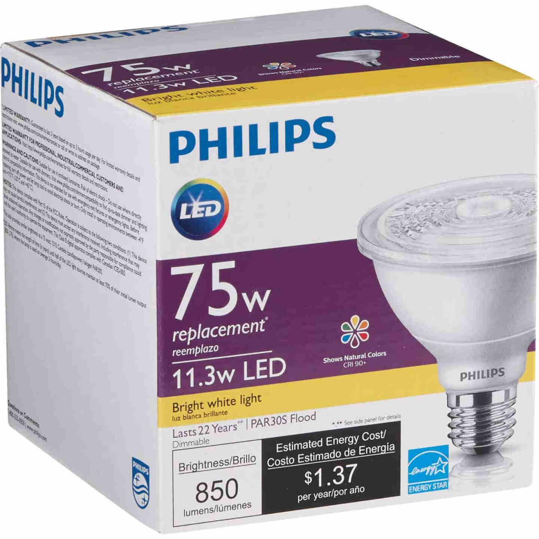 Philips 75W Equivalent Bright White PAR30 Short Neck Medium Dimmable LED Floodlight Light Bulb with 25 Deg. Beam Image 4