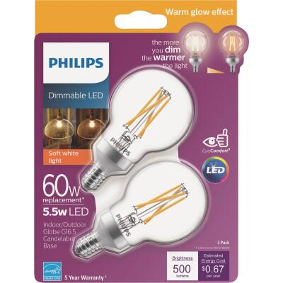 Philips Warm Glow 60W Equivalent Soft White G16.5 Candelabra Dimmable LED Decorative Light Bulb (2-Pack)