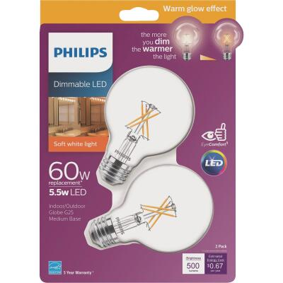 Philips Warm Glow 60W Equivalent Soft White G25 Medium Dimmable LED Decorative Globe Light Bulb (2-Pack)