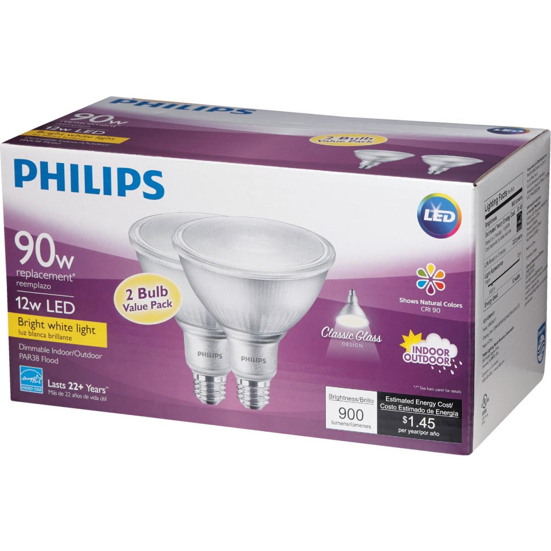 Philips 90W Equivalent Bright White PAR38 Medium Indoor/Outdoor LED Floodlight Light Bulb (2-Pack) Image 5