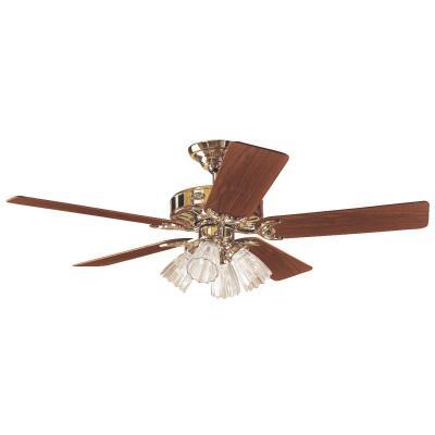 Hunter Studio 52 In. Bright Brass Ceiling Fan with Light Kit