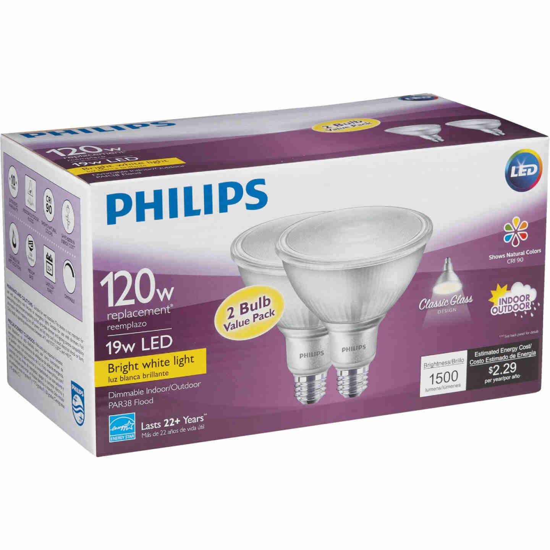 Philips 120W Equivalent Bright White PAR38 Medium Indoor/Outdoor LED Floodlight Light Bulb (2-Pack) Image 4