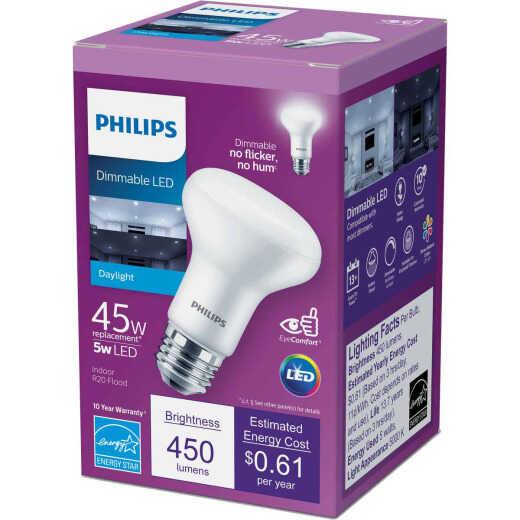 Philips 45W Equivalent Daylight R20 Medium Dimmable LED Floodlight Light Bulb
