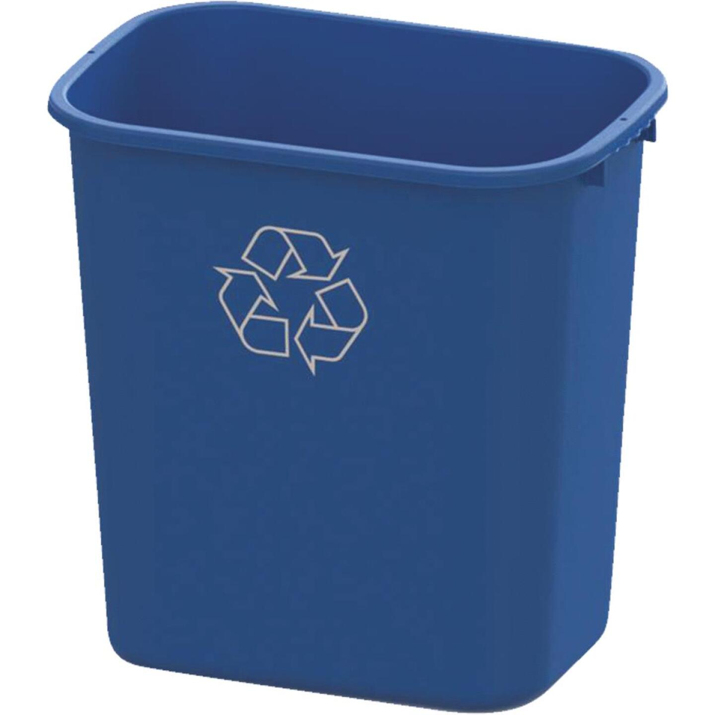 Impact 28 Qt. Blue Plastic Recycle Wastebasket Image 1