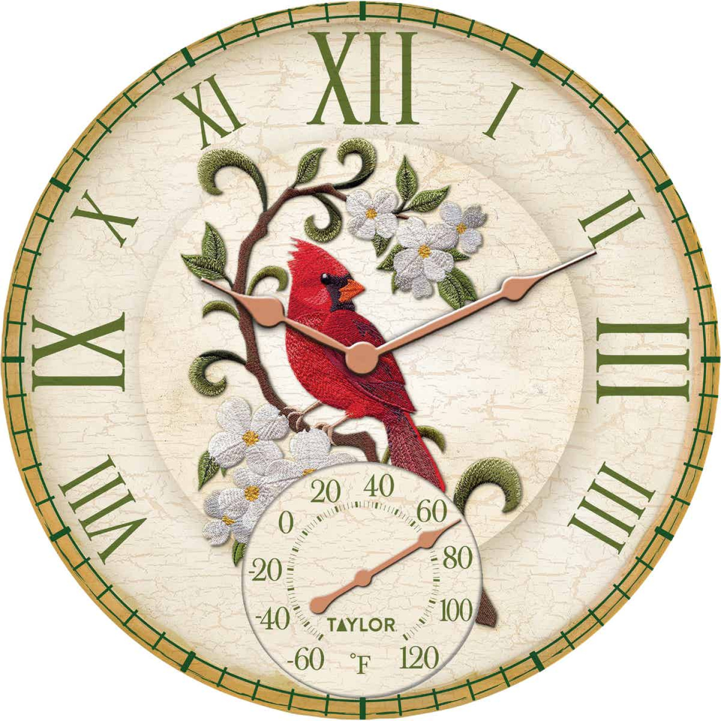 Taylor SpringField 14 In. Resin Indoor/Outdoor Cardinal Clock Thermometer Image 1