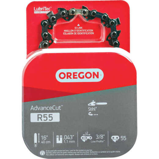 Oregon AdvanceCut LubriTec R55 16 In. 3/8 In. Low Profile 55 Link Chainsaw Chain