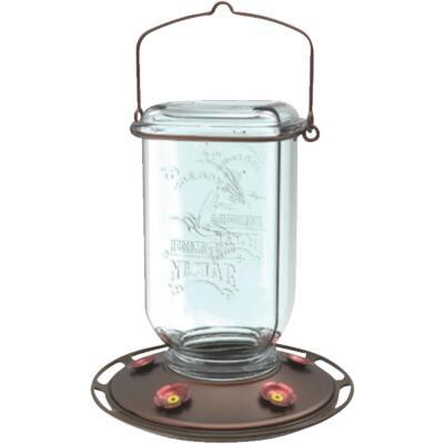 More Birds 25 Oz. Glass Mason Jar Hummingbird Feeder
