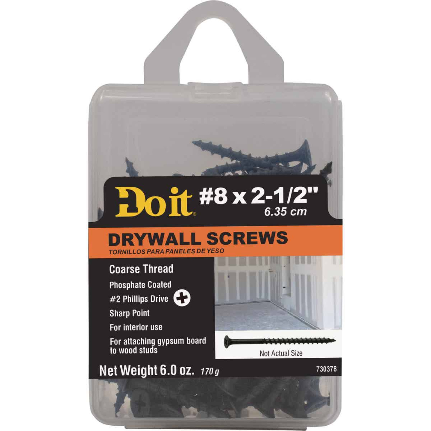 Do it #8 x 2-1/2 In. Coarse Thread Phosphate Drywall Screw Image 1