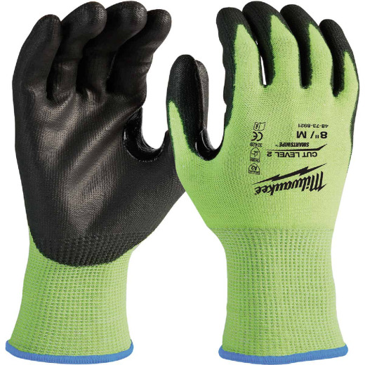 Milwaukee Men's Medium Cut Level 2 High Vis Nitrile Dipped Glove