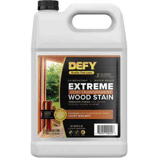 DEFY Extreme Semi-Transparent Exterior Wood Stain, Light Walnut, 1 Gal. Bottle