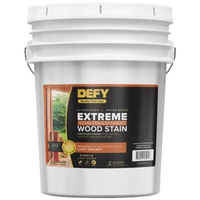 DEFY Extreme Semi-Transparent Exterior Wood Stain, Light Walnut, 5 Gal.