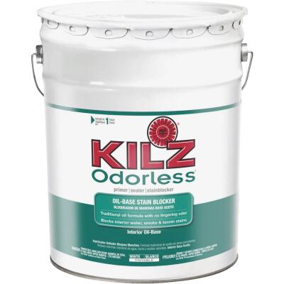 Kilz Odorless Oil-Based Interior Primer Sealer Stainblocker, White, 5 Gal.