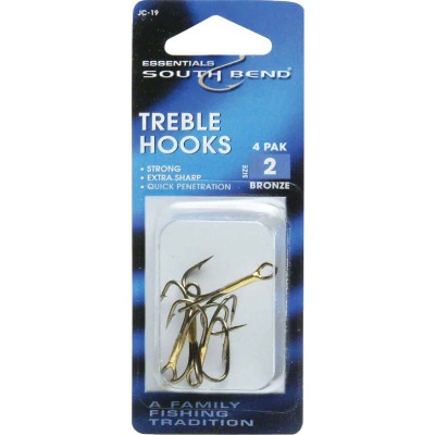 SouthBend Size 2 Bronze Treble Fishing Hook (4-Pack)